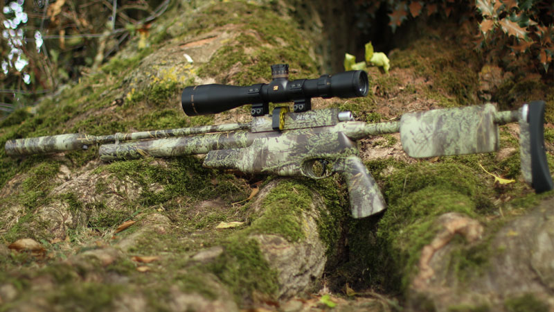 The gun blends into its surroundings with the Realtree Max 1 camo. Once we have the scope dipped, it's going to be hard to find ;)